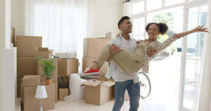 couple excited about new home