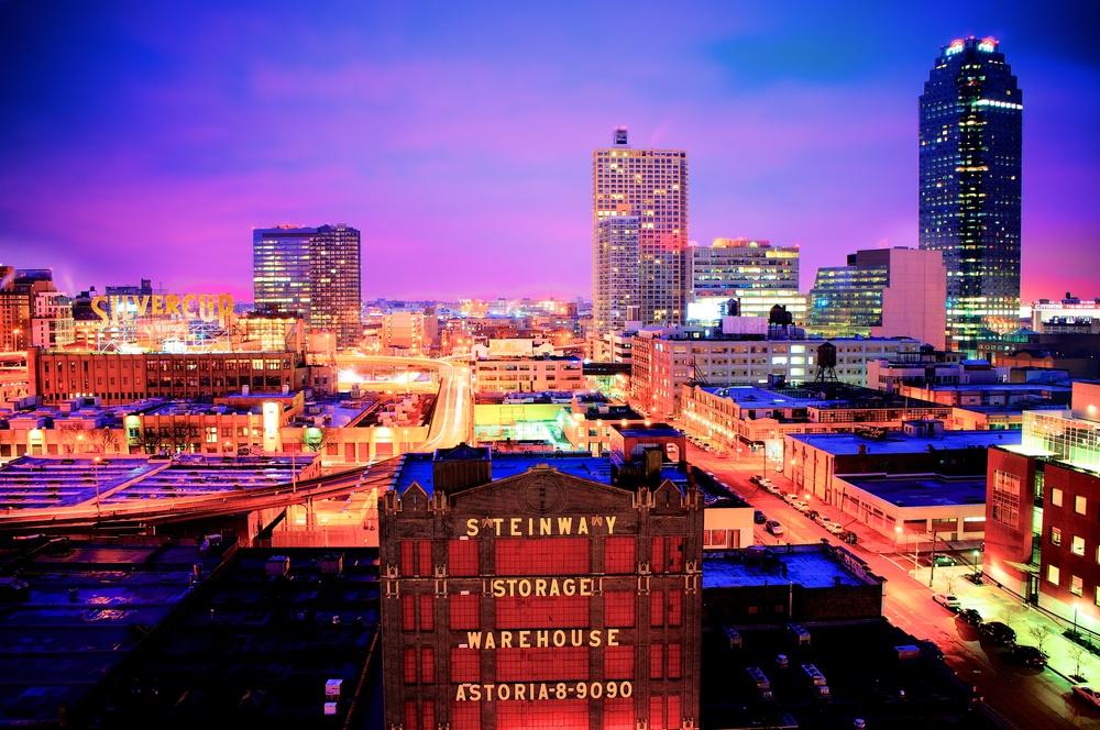 Skyline shot of Steinway Warehouse in Astoria