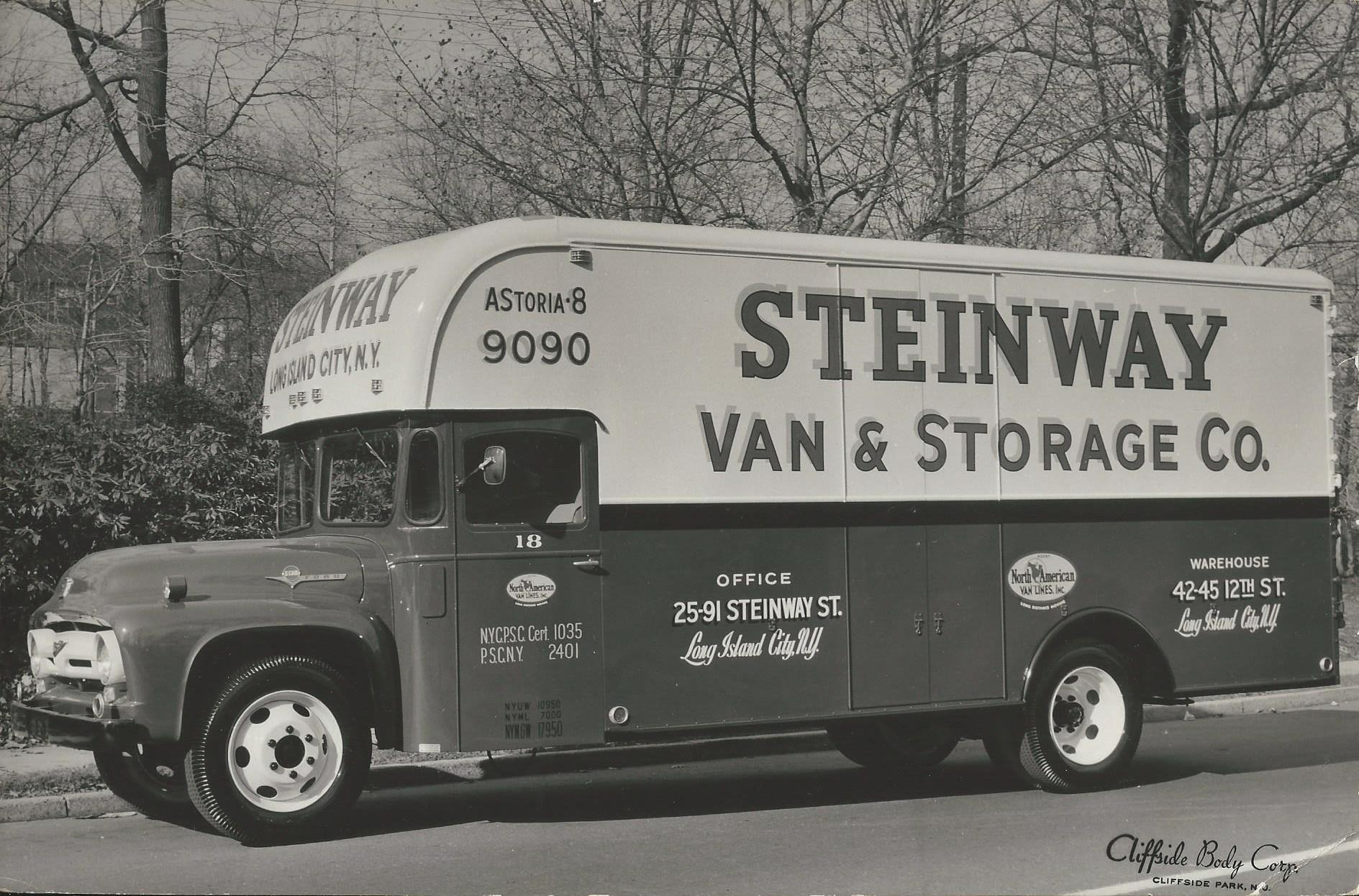 black and white photograph of Steinway van